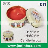 metal tin round candle can box