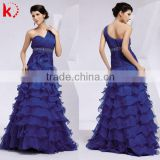Elegant blue one-shoulder ruffle layering formal chiffon quinceanera dress pattern