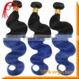 Black Root 1B/Blue omber hair weft machine soft and smooth body wave hair extension