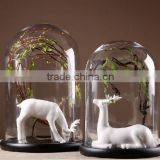 Wholesale clear glass bell jar with wooden base, high quality glass bell jar dome manufacture