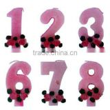 Wholesale Pink Glitter Number Candle, available in 1 2 3 4 5 6 7 8 9 0 Kids Birthday Partyware Party Supplies