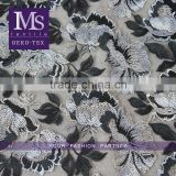 Floral vintage grey black chemical fabric embroidered mesh fabrics