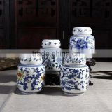 Chinese blue decal ceramic cremation pet urn