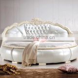 Luxury classical wood carving round bed set for villa hotel