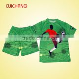 wholesale heat transfer/silk screen print polyester/cotton custom design football /Soccer team wear ZQF-070