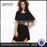 Black Dolman Sleeve Self Tie Curved Hem Dress With Belted Cotton Spandex Short Sleeve Casual Plain Short Dress