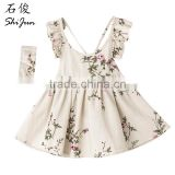 ShiJ Baby Girls Dress 100% Linen Backless Peach Blossom Summer Baby Clothing
