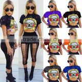 Europe and the United States and sexy woman round collar short sleeve guns and roses printed short midriff t-shirts