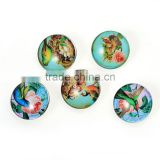 Custom Jewelry Bird Pattern 18mm Glass Buttons For Snap Button Bracelets