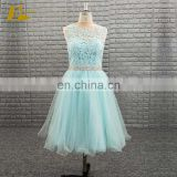 Mint Green Color Tulle Short A Line Prom Dress With Beaded Belt