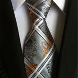 Shirt Collar Accessories Silver Mens Silk Necktie Satin Striped