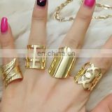 Metal Fashion Ring Four Finger Punk Ring Set,Wholesale Jewelry Personality Fashion Four Finger Ring,4 Full Finger Ring