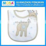 100% Embroidered Giraffe Baby Bibs Eco-friendly Cotton Material