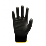 black polyester shell black PU coated gloves