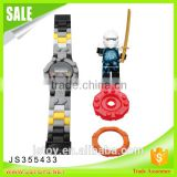 2016 newest products children plastic building blocks electronic watch with minifigures