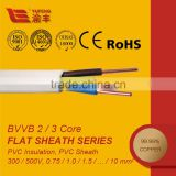 3 core flat electrical cable 300/500V
