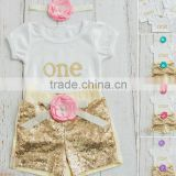 wholesale 2016 children clothes set baby girls first birthday party dresses flower 2 pcs baby shorts set gold children clothes