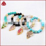 Women's Blue Black Red Agate Lacey Agate Sally Beaded Stretch Bracelet With Arrowhead Pendants
