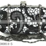 hot sale ladies hard clutch evening bag with black lace