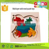 Safety Toddle Educational Activity Toys Cute Wooden 3 Layer Puzzle                                                                         Quality Choice