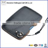 handmade genuine leather business credit card holder with lanyard