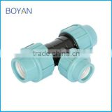 BOYAN zhejiang taizou light blue plastic pipe fitting for irrigation PP compression reducing tee