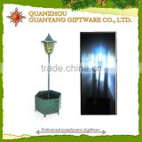 Metal planter with solar light Lantern metal flower pot stand