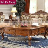 Europe country brief hand-carved wood mdf square home furniture tea table with drawers P-206