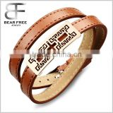 Multilayer Charm Leather Bracelets & Bangles Personality Wrap Wristband for Men Brown/ Black