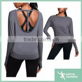 ladies back less long sleeve slim fit shirts made of bamboo t-shirts wholesale,dri fit shirts wholesale
