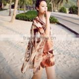 Women's Tiger pattern chiffon blouse Tropical kimono cardigan bikini cover-up top swim