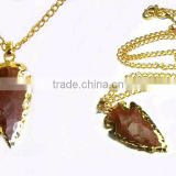 Red Agate Arrowhead Gold Electroplated Pendant Necklace : Wholesale Gemstone Red Agate Arrowhead