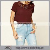 OEM/ODM Service Summer New Women Short Sleeves Tops Round Neckline Button-Down Back Crochet -Paneled Women Tops