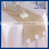RU016B New 2015 wholesale handmade embroidery wedding burlap table runners With thiny flower