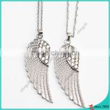 2016 new arrival rhinestone angel wings charm necklace wholesale