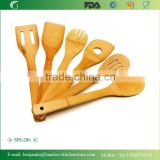 SP6-206 /6 Pieces Bamboo Kitchen Serving Utensil Set , Bamboo Spatula Set /Spoon Set With Holder