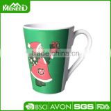 Santa Clause printed promotional melamine mugs, Christmas custom household plastic cup