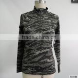 Eco-Friendly Fashion 88%Polyester 12%Spandex Camo Latest Fashionable 1/4 zip Women Long Sleeve T-shirt