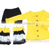 High Quality Wholesale Baby Girl Clothes Outfit Solid Color Ruffle Long Sleeve Top Cake Ruffle Stitching Pants