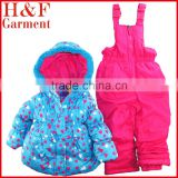 Winter Baby clothes set fleece lined with jacket and bib overall