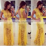 Fast Delivery Elegant Sleeveless Beaded Women Party Wear Long Evening Dress