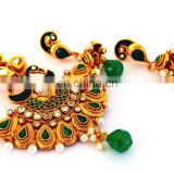 wholesale Indian Traditional south Indian gold plated pendant set-green color lakshmi coin pendant set-south Indian jewellery