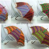 Women's Cotton Indian Embroidered Sun Parasol Vintage Decor Umbrella Embroidered Umbrellas Maroon Ethnic Sun Protector Parasol
