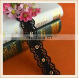 Hot sale black polyester velvet eyelet ribbon in double scallops shape custom make for garment