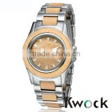Kwock Top selling fashion metal and wood watch quartz wood watches custom logo for ladies
