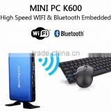 mini pc low consumption cheap educational thin client K600 blue alumnium alloy case 2GB 32GB