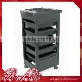 Beiqi Wholesale Plastic Hair Salon Trolleys Black Italy Style for Sale