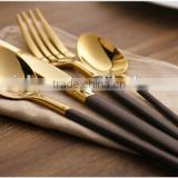 4pcs luxury flateware Cutlery Set/Tableware set gold with black handle