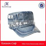 high quality wholesale custom made blank design your own blue jean flat top military cap