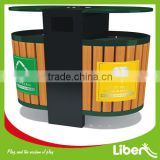 wooden dustbin with stainless steel foot pedal for park LE.LJ.017